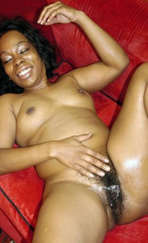 Chubby black wife with hairy twat..